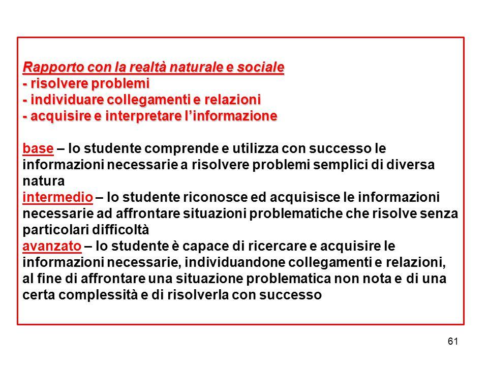 61 Rapporto con la realtà naturale e sociale - risolvere problemi - individuare collegamenti e relazioni - acquisire e interpretare l'informazione Rap