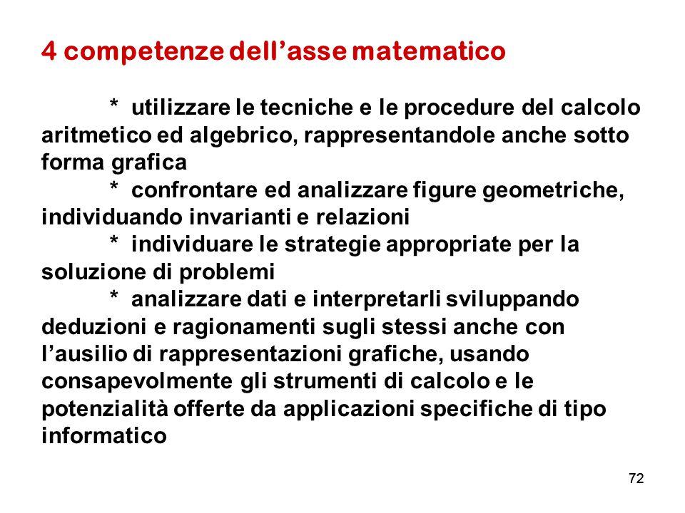 72 4 competenze dell'asse matematico * utilizzare le tecniche e le procedure del calcolo aritmetico ed algebrico, rappresentandole anche sotto forma g