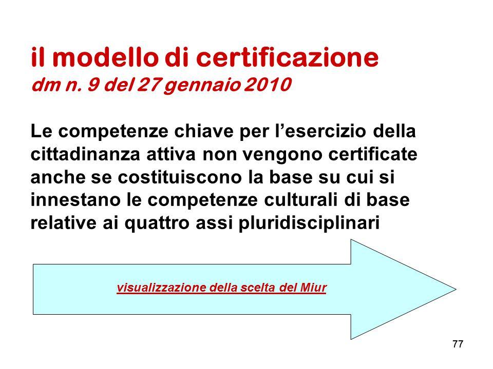 77 il modello di certificazione dm n. 9 del 27 gennaio 2010 Le competenze chiave per l'esercizio della cittadinanza attiva non vengono certificate anc