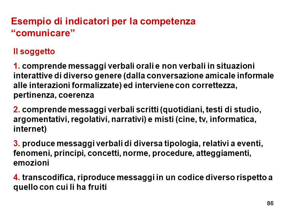 """86 Esempio di indicatori per la competenza """"comunicare"""" Il soggetto 1. comprende messaggi verbali orali e non verbali in situazioni interattive di div"""