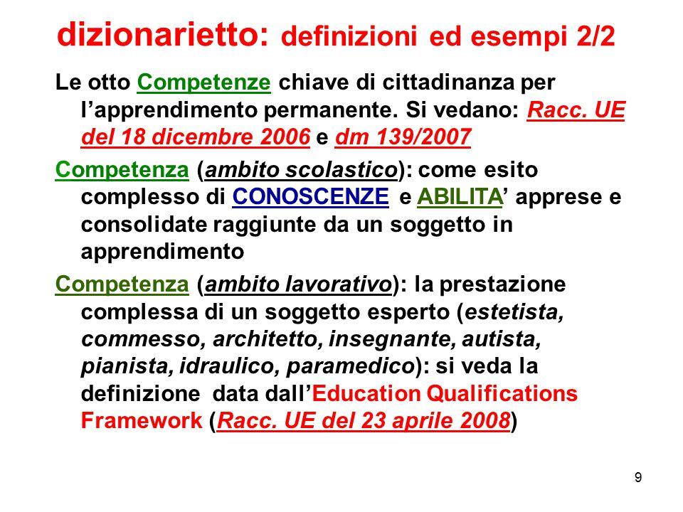 9 Le otto Competenze chiave di cittadinanza per l'apprendimento permanente. Si vedano: Racc. UE del 18 dicembre 2006 e dm 139/2007 Competenza (ambito