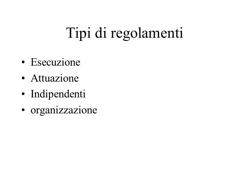 Tipi di regolamenti Esecuzione Attuazione Indipendenti organizzazione