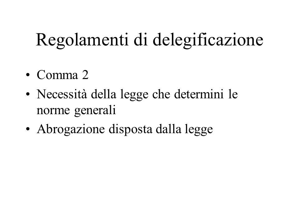 Regolamenti di delegificazione Comma 2 Necessità della legge che determini le norme generali Abrogazione disposta dalla legge