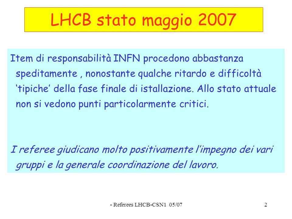 - Referees LHCB-CSN1 05/072 LHCB stato maggio 2007 Item di responsabilità INFN procedono abbastanza speditamente, nonostante qualche ritardo e difficoltà 'tipiche' della fase finale di istallazione.