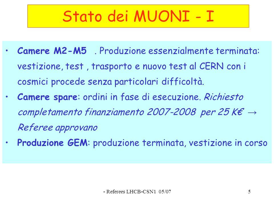 - Referees LHCB-CSN1 05/075 Stato dei MUONI - I Camere M2-M5.
