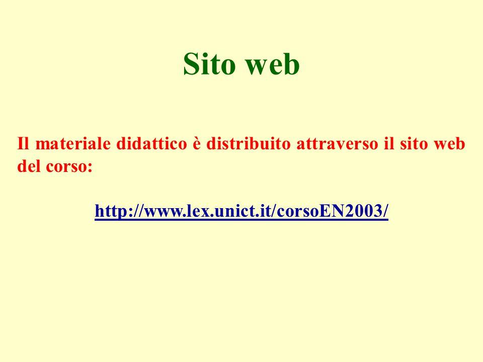 Sito web Il materiale didattico è distribuito attraverso il sito web del corso: http://www.lex.unict.it/corsoEN2003/
