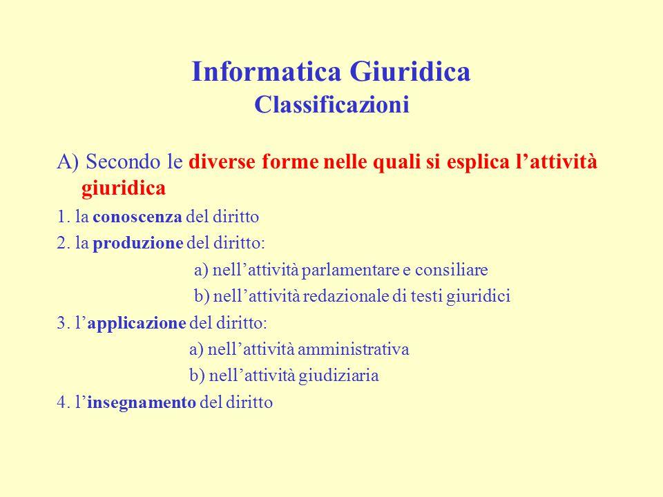 Informatica Giuridica Classificazioni A) Secondo le diverse forme nelle quali si esplica l'attività giuridica 1. la conoscenza del diritto 2. la produ