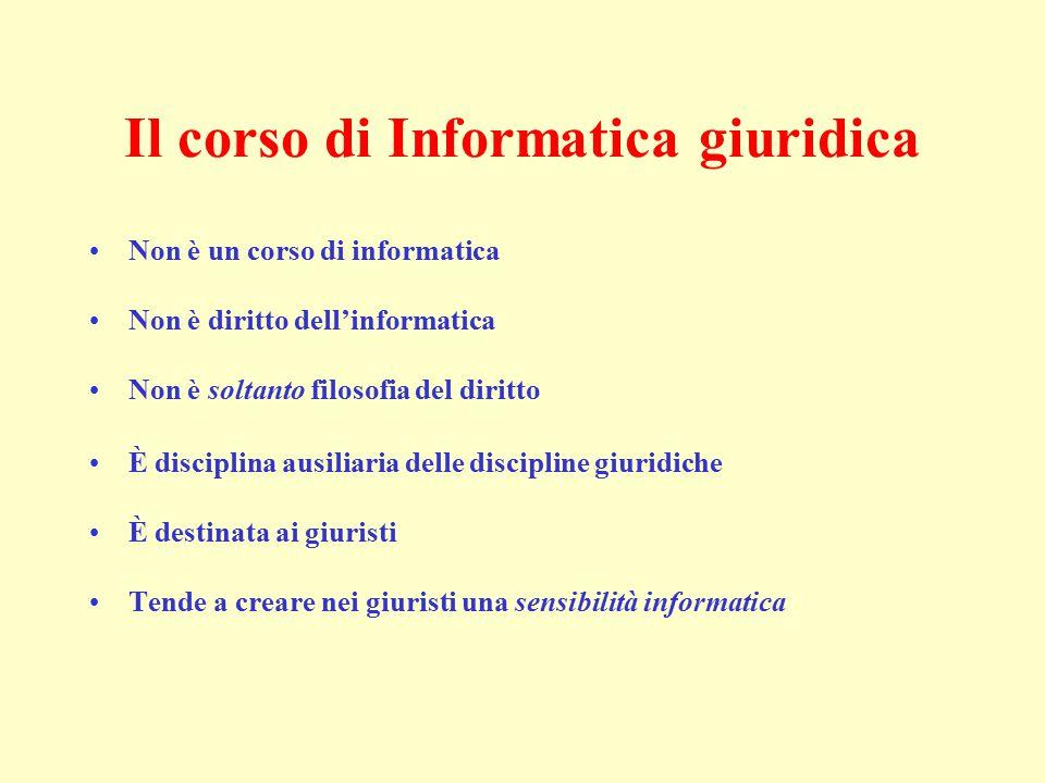 Il corso di Informatica giuridica Non è un corso di informatica Non è diritto dell'informatica Non è soltanto filosofia del diritto È disciplina ausil