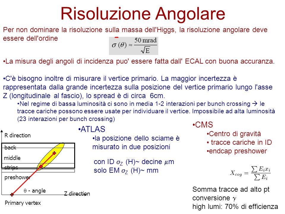Risoluzione Angolare Per non dominare la risoluzione sulla massa dell Higgs, la risoluzione angolare deve essere dell ordine La misura degli angoli di incidenza puo essere fatta dall ECAL con buona accuranza.