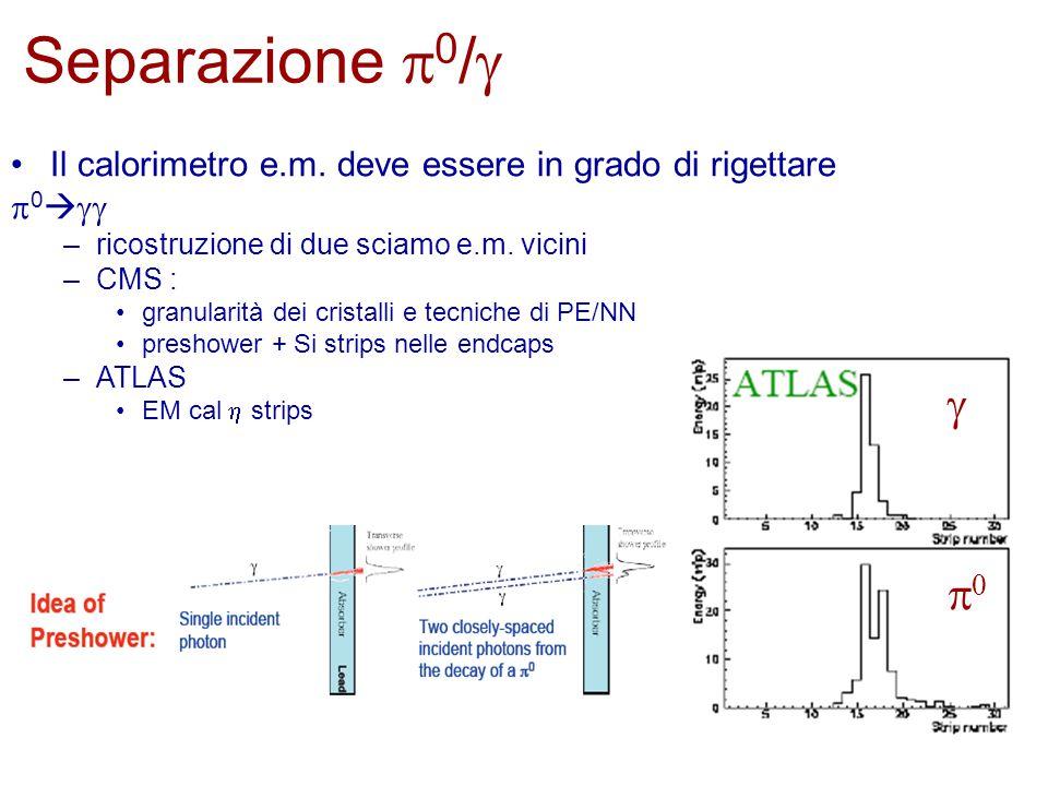 Il calorimetro e.m. deve essere in grado di rigettare  0   –ricostruzione di due sciamo e.m.