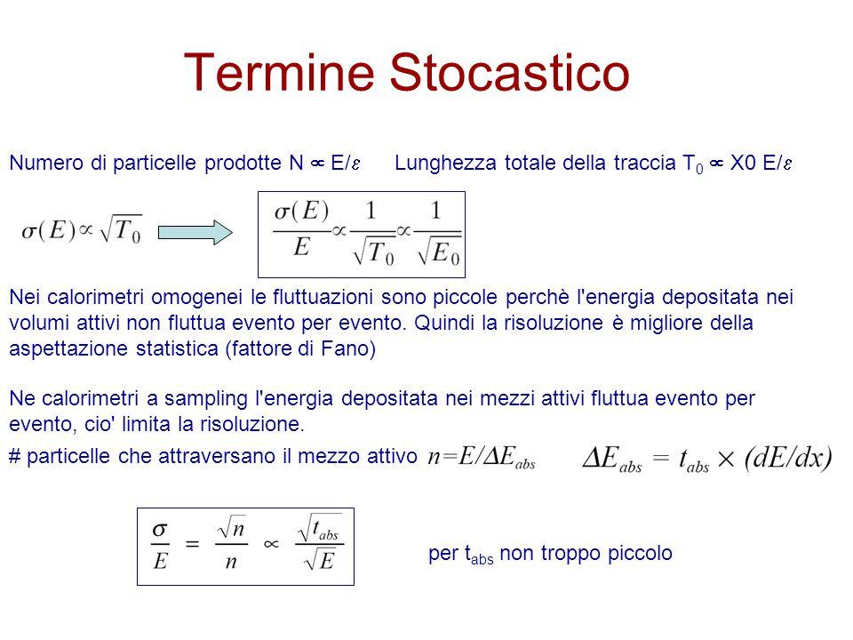 Termine Stocastico Lunghezza totale della traccia T 0  X0 E/  Numero di particelle prodotte N  E/  Nei calorimetri omogenei le fluttuazioni sono piccole perchè l energia depositata nei volumi attivi non fluttua evento per evento.