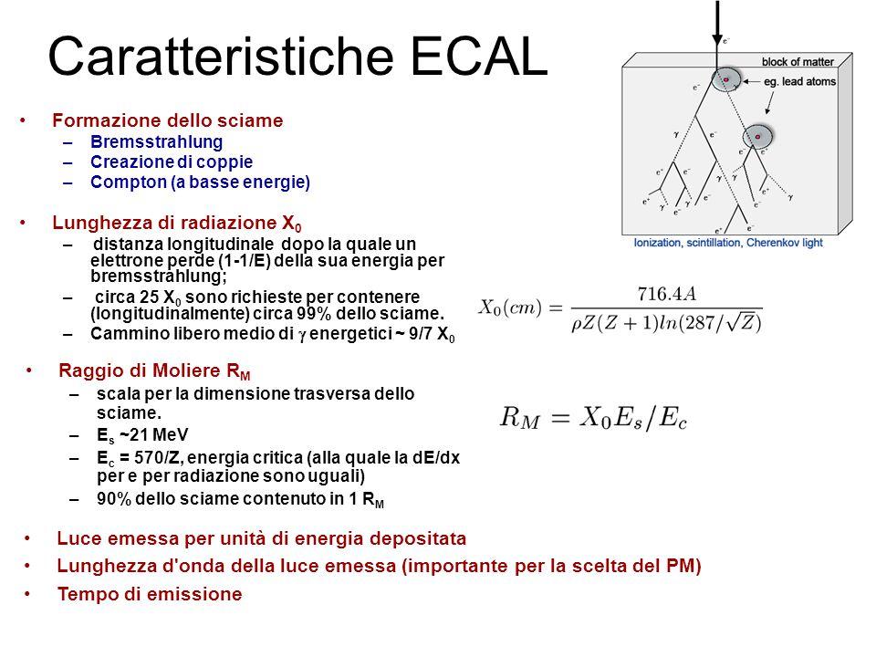Caratteristiche ECAL Formazione dello sciame –Bremsstrahlung –Creazione di coppie –Compton (a basse energie) Lunghezza di radiazione X 0 – distanza longitudinale dopo la quale un elettrone perde (1-1/E) della sua energia per bremsstrahlung; – circa 25 X 0 sono richieste per contenere (longitudinalmente) circa 99% dello sciame.