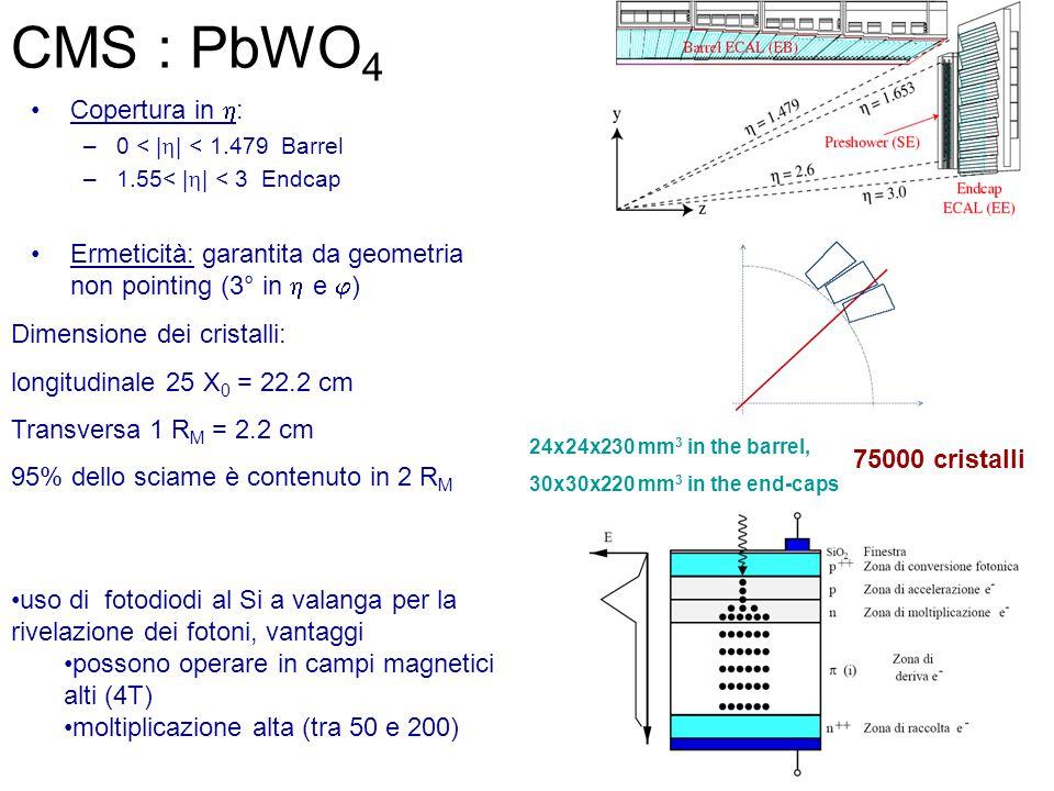 Copertura in  : –0 < |  | < 1.479 Barrel –1.55< |  | < 3 Endcap Ermeticità: garantita da geometria non pointing (3° in  e  ) Dimensione dei cristalli: longitudinale 25 X 0 = 22.2 cm Transversa 1 R M = 2.2 cm 95% dello sciame è contenuto in 2 R M 24x24x230 mm 3 in the barrel, 30x30x220 mm 3 in the end-caps uso di fotodiodi al Si a valanga per la rivelazione dei fotoni, vantaggi possono operare in campi magnetici alti (4T) moltiplicazione alta (tra 50 e 200) 75000 cristalli CMS : PbWO 4