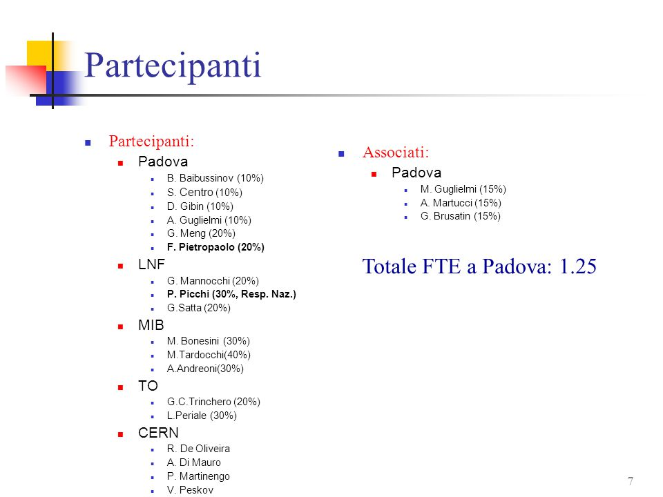 7 Partecipanti Partecipanti: Padova B. Baibussinov (10%) S.