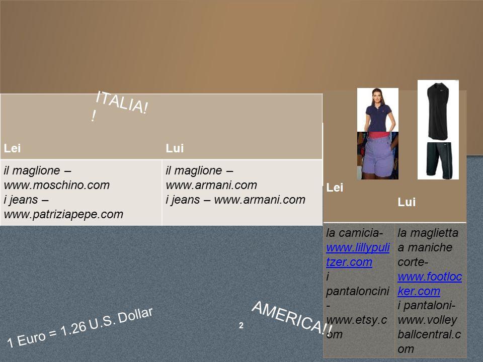 CLOTHES. 2 1 Euro = 1.26 U.S.