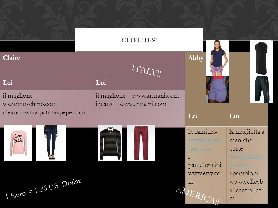 CLOTHES! 1 Euro = 1.26 U.S. Dollar ITALY!! AMERICA!!