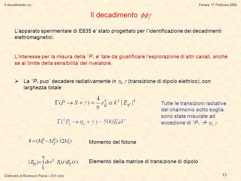 Dottorato di Ricerca in Fisica – XVI ciclo Il decadimento  Ferrara 17 Febbraio 2004 13 Il decadimento   La 1 P 1 puo' decadere radiativamente in  c  (transizione di dipolo elettrico), con larghezza totale L'apparato sperimentale di E835 e' stato progettato per l'identificazione dei decadimenti elettromagnetici.