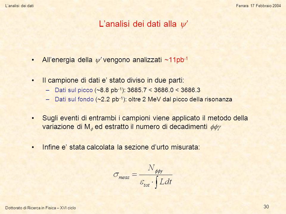 Dottorato di Ricerca in Fisica – XVI ciclo L'analisi dei datiFerrara 17 Febbraio 2004 30 L'analisi dei dati alla  ' All'energia della  ' vengono analizzati ~11pb -1 Il campione di dati e' stato diviso in due parti: –Dati sul picco (~8.8 pb -1 ): 3685.7 < 3686.0 < 3686.3 –Dati sul fondo (~2.2 pb -1 ): oltre 2 MeV dal picco della risonanza Sugli eventi di entrambi i campioni viene applicato il metodo della variazione di M  ed estratto il numero di decadimenti  Infine e' stata calcolata la sezione d'urto misurata:
