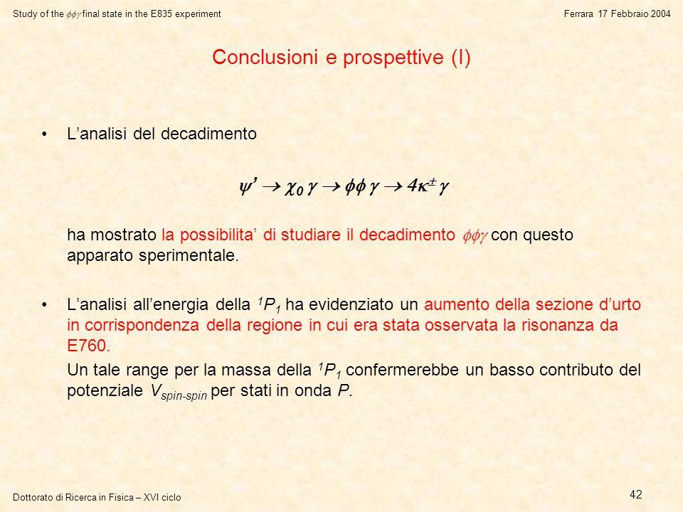 Dottorato di Ricerca in Fisica – XVI ciclo Study of the  final state in the E835 experiment Ferrara 17 Febbraio 2004 42 Conclusioni e prospettive (I) L'analisi del decadimento  '   0         ha mostrato la possibilita' di studiare il decadimento  con questo apparato sperimentale.