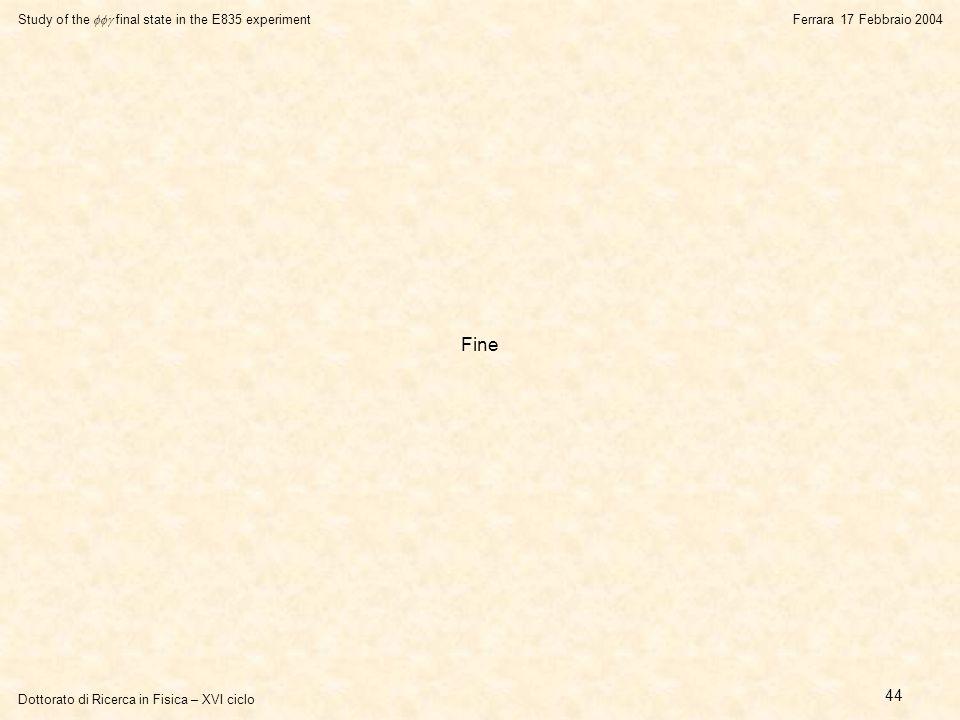 Dottorato di Ricerca in Fisica – XVI ciclo Study of the  final state in the E835 experiment Ferrara 17 Febbraio 2004 44 Fine