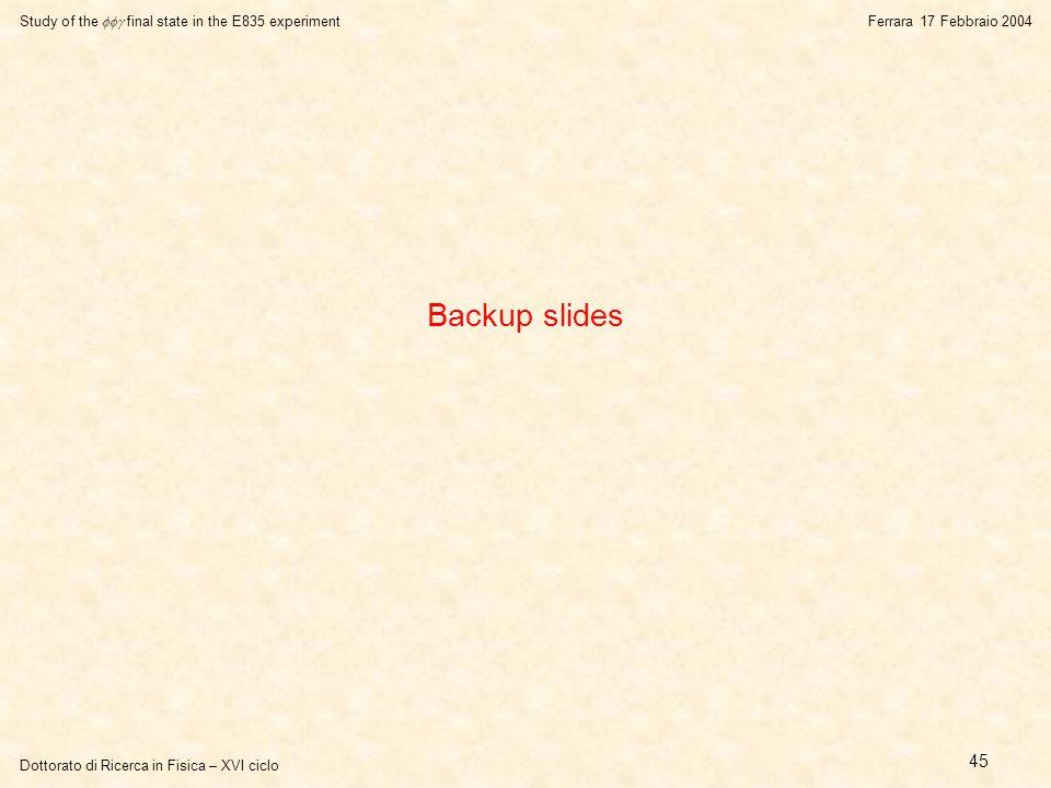 Dottorato di Ricerca in Fisica – XVI ciclo Study of the  final state in the E835 experiment Ferrara 17 Febbraio 2004 45 Backup slides