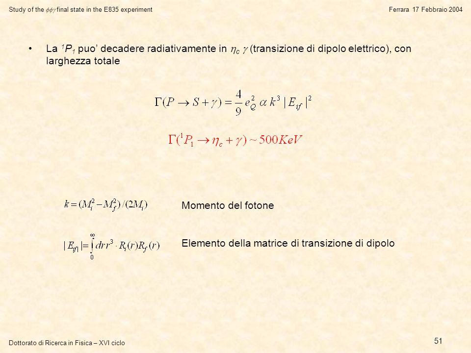 Dottorato di Ricerca in Fisica – XVI ciclo Study of the  final state in the E835 experiment Ferrara 17 Febbraio 2004 51 La 1 P 1 puo' decadere radiativamente in  c  (transizione di dipolo elettrico), con larghezza totale Momento del fotone Elemento della matrice di transizione di dipolo