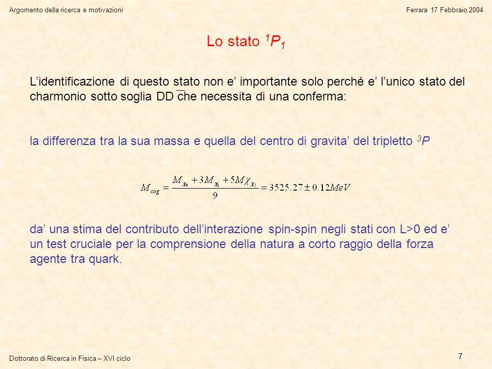 Dottorato di Ricerca in Fisica – XVI ciclo Argomento della ricerca e motivazioniFerrara 17 Febbraio 2004 7 Lo stato 1 P 1 L'identificazione di questo stato non e' importante solo perché e' l'unico stato del charmonio sotto soglia DD che necessita di una conferma: la differenza tra la sua massa e quella del centro di gravita' del tripletto 3 P da' una stima del contributo dell'interazione spin-spin negli stati con L>0 ed e' un test cruciale per la comprensione della natura a corto raggio della forza agente tra quark.