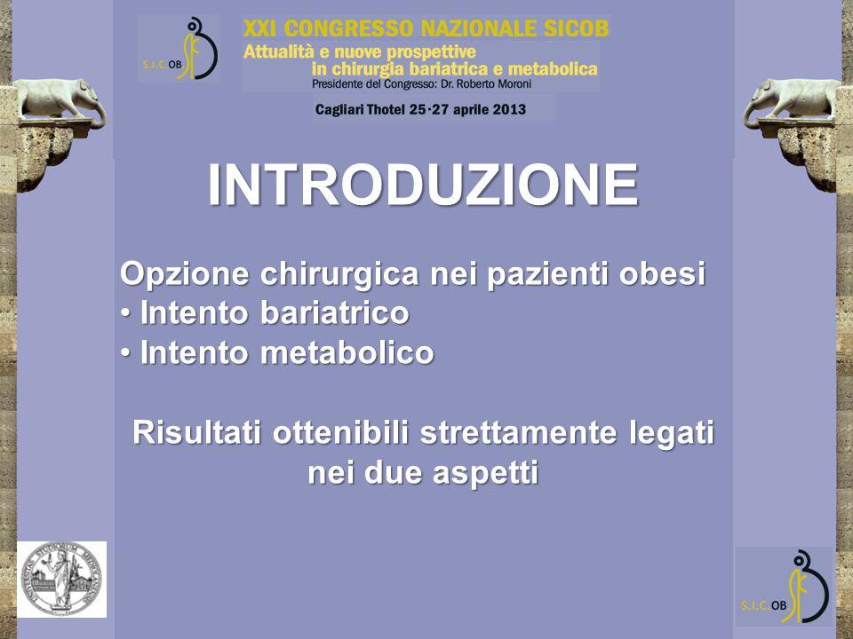INTRODUZIONE Opzione chirurgica nei pazienti obesi Intento bariatrico Intento bariatrico Intento metabolico Intento metabolico Risultati ottenibili st