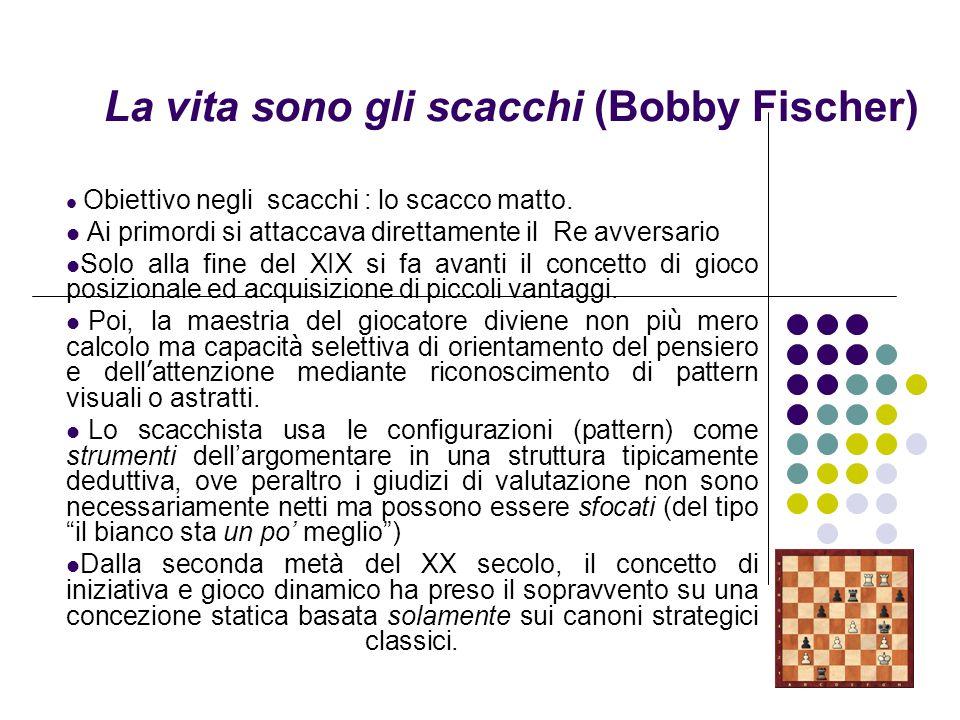 La vita sono gli scacchi (Bobby Fischer) Obiettivo negli scacchi : lo scacco matto. Ai primordi si attaccava direttamente il Re avversario Solo alla f