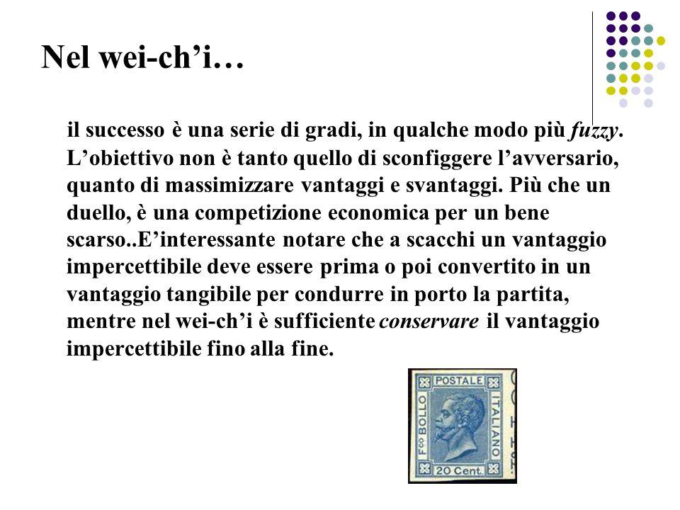 Nel wei-ch'i… il successo è una serie di gradi, in qualche modo più fuzzy. L'obiettivo non è tanto quello di sconfiggere l'avversario, quanto di massi