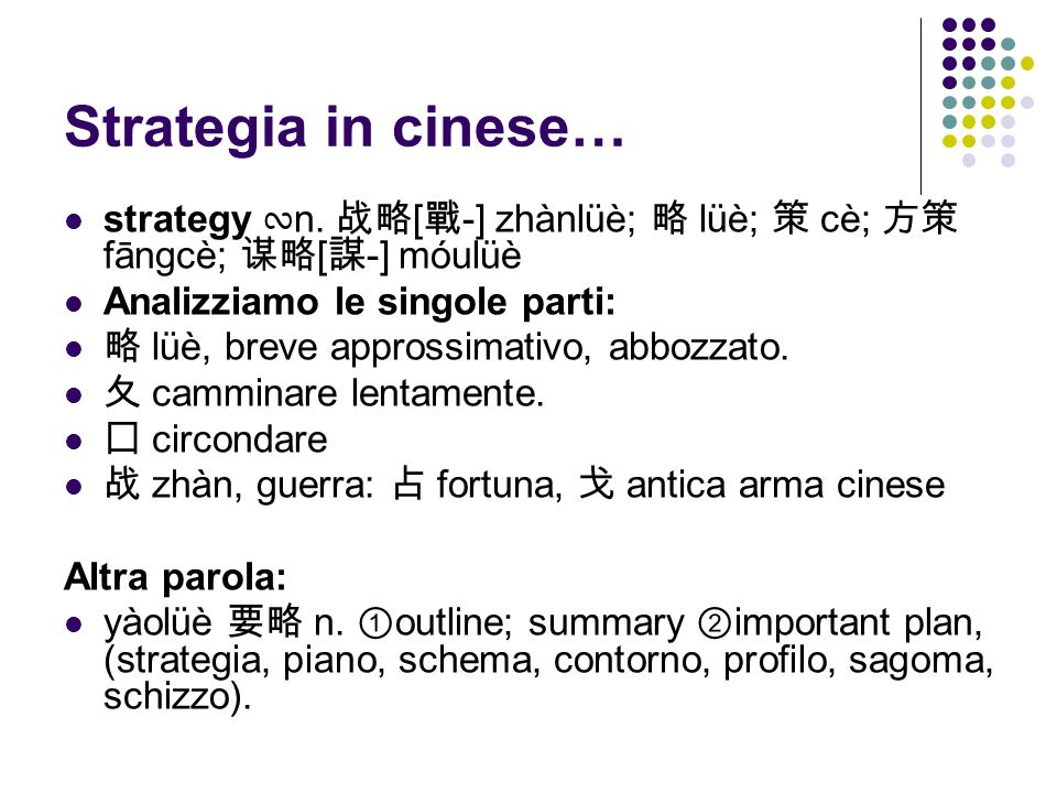 Strategia in cinese… strategy ∾ n.