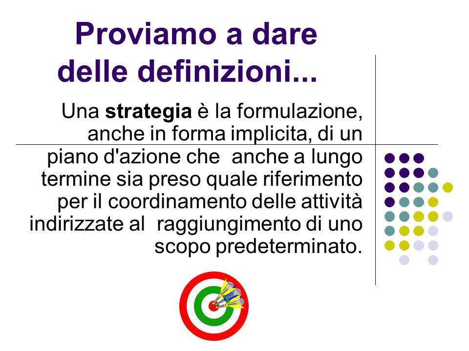 Proviamo a dare delle definizioni... Una strategia è la formulazione, anche in forma implicita, di un piano d'azione che anche a lungo termine sia pre