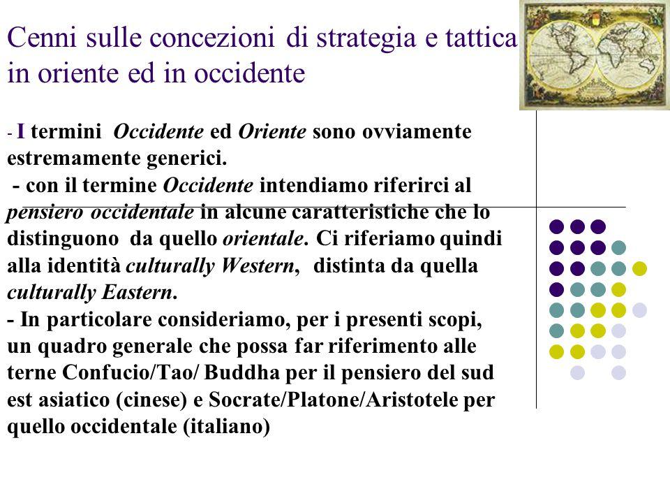 Cenni sulle concezioni di strategia e tattica in oriente ed in occidente - I termini Occidente ed Oriente sono ovviamente estremamente generici. - con