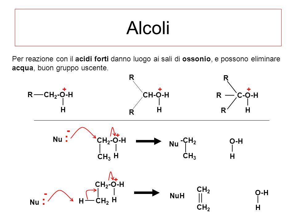 Alcoli C-O-H R R R CH-O-H R R CH 2 -O-HR Per reazione con il acidi forti danno luogo ai sali di ossonio, e possono eliminare acqua, buon gruppo uscent