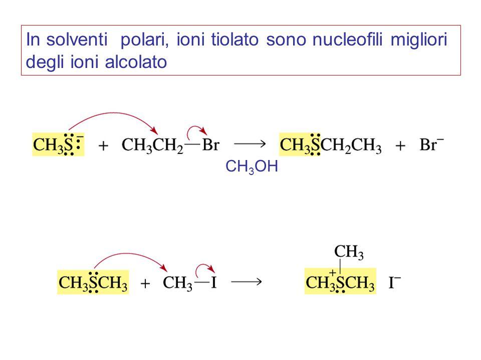 In solventi polari, ioni tiolato sono nucleofili migliori degli ioni alcolato CH 3 OH