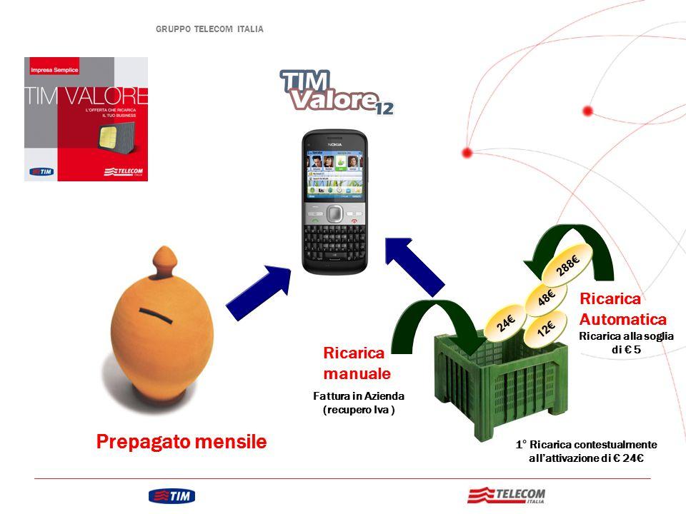 Prepagato mensile Ricarica Automatica 12€ 24€ 48€ Ricarica alla soglia di € 5 Ricarica manuale Fattura in Azienda (recupero Iva ) 1° Ricarica contestualmente all'attivazione di € 24€ 288€