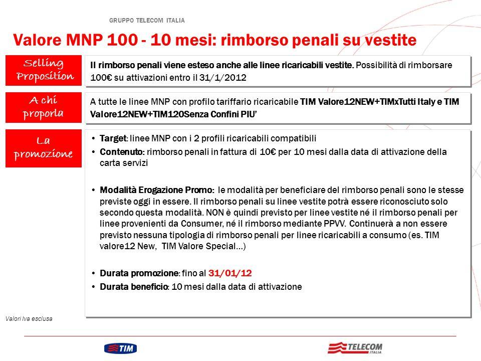 Selling Proposition La promozione Valore MNP 100 - 10 mesi: rimborso penali su vestite Il rimborso penali viene esteso anche alle linee ricaricabili vestite.
