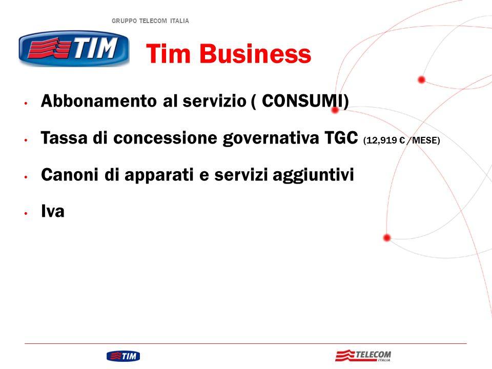 GRUPPO TELECOM ITALIA Tim Business Abbonamento al servizio ( CONSUMI) Tassa di concessione governativa TGC (12,919 € /MESE) Canoni di apparati e servizi aggiuntivi Iva