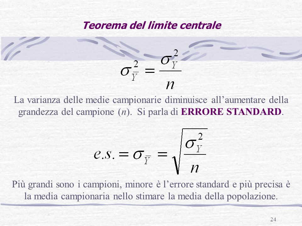 24 Teorema del limite centrale La varianza delle medie campionarie diminuisce all'aumentare della grandezza del campione (n).