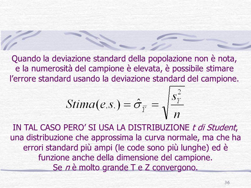 36 Quando la deviazione standard della popolazione non è nota, e la numerosità del campione è elevata, è possibile stimare l'errore standard usando la