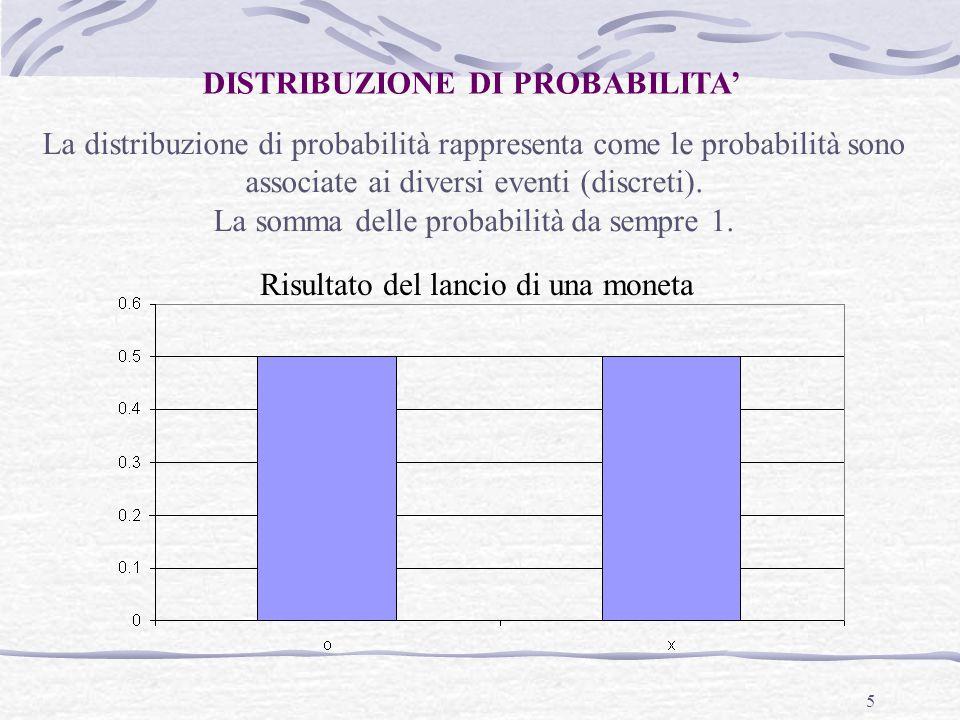 5 DISTRIBUZIONE DI PROBABILITA' La distribuzione di probabilità rappresenta come le probabilità sono associate ai diversi eventi (discreti). La somma