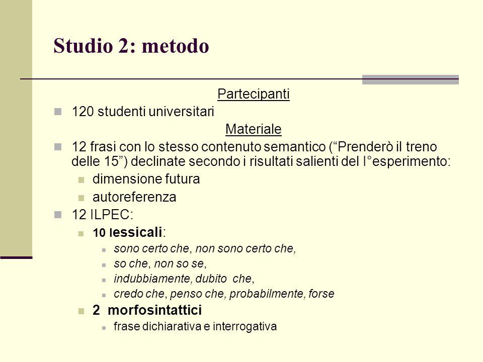 """Studio 2: metodo Partecipanti 120 studenti universitari Materiale 12 frasi con lo stesso contenuto semantico (""""Prenderò il treno delle 15"""") declinate"""