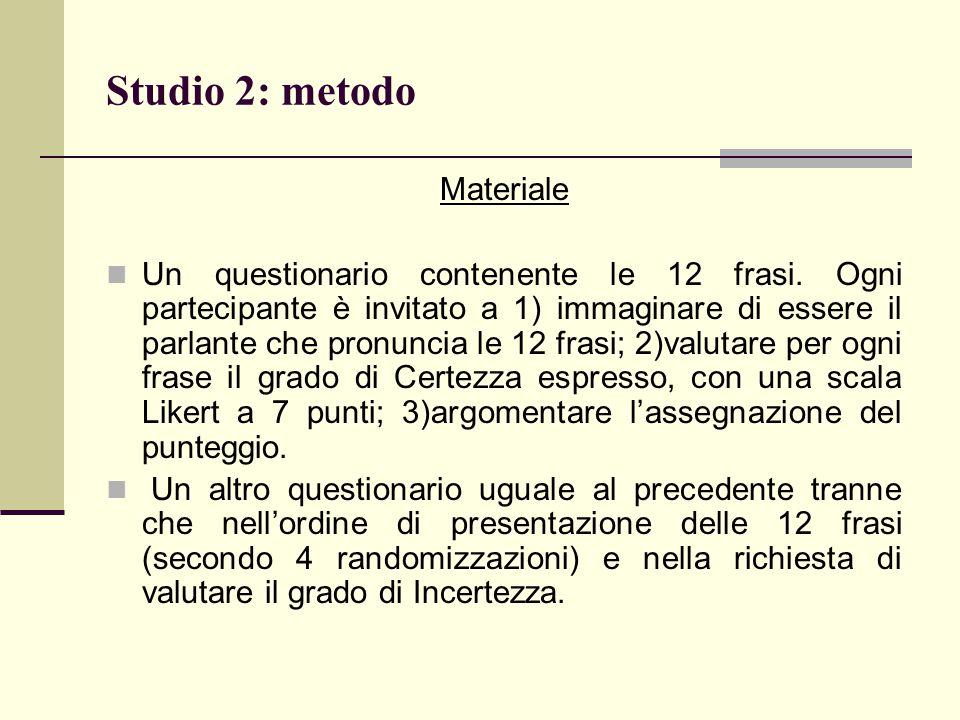 Studio 2: metodo Materiale Un questionario contenente le 12 frasi. Ogni partecipante è invitato a 1) immaginare di essere il parlante che pronuncia le