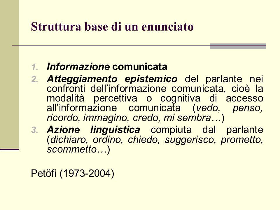 1. Informazione comunicata 2. Atteggiamento epistemico del parlante nei confronti dell'informazione comunicata, cioè la modalità percettiva o cognitiv