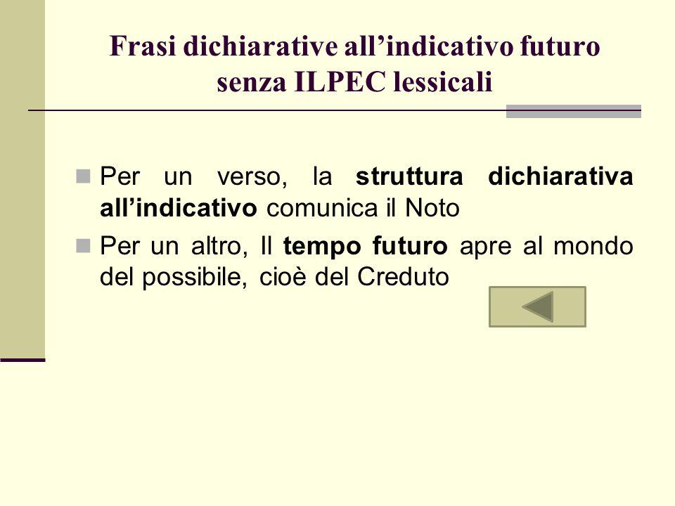 Frasi dichiarative all'indicativo futuro senza ILPEC lessicali Per un verso, la struttura dichiarativa all'indicativo comunica il Noto Per un altro, I