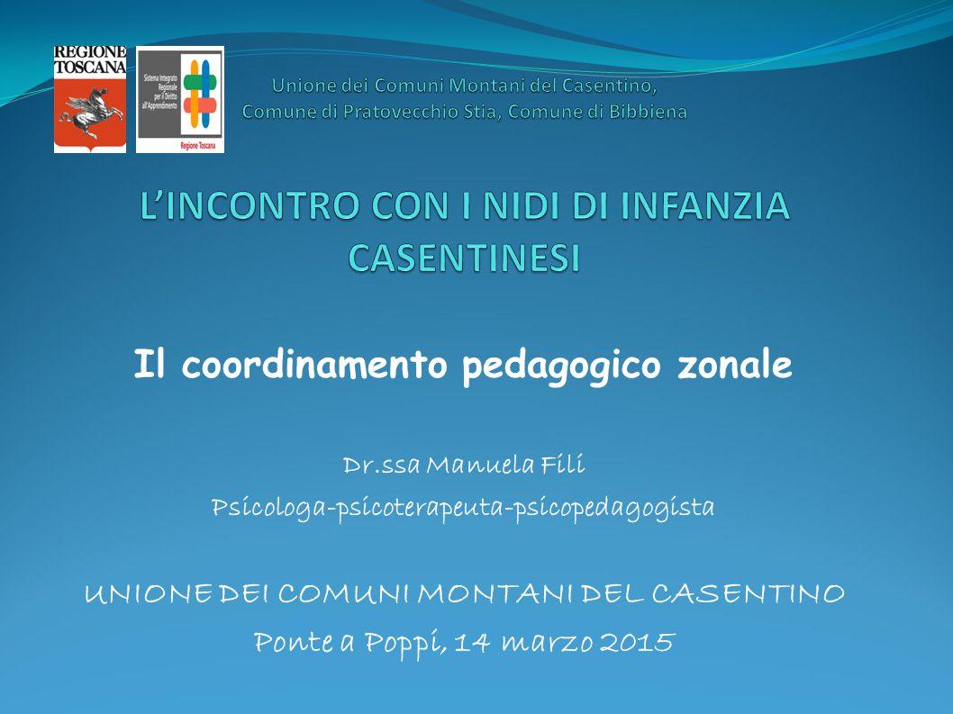 Il coordinamento pedagogico zonale Dr.ssa Manuela Fili Psicologa-psicoterapeuta-psicopedagogista UNIONE DEI COMUNI MONTANI DEL CASENTINO Ponte a Poppi