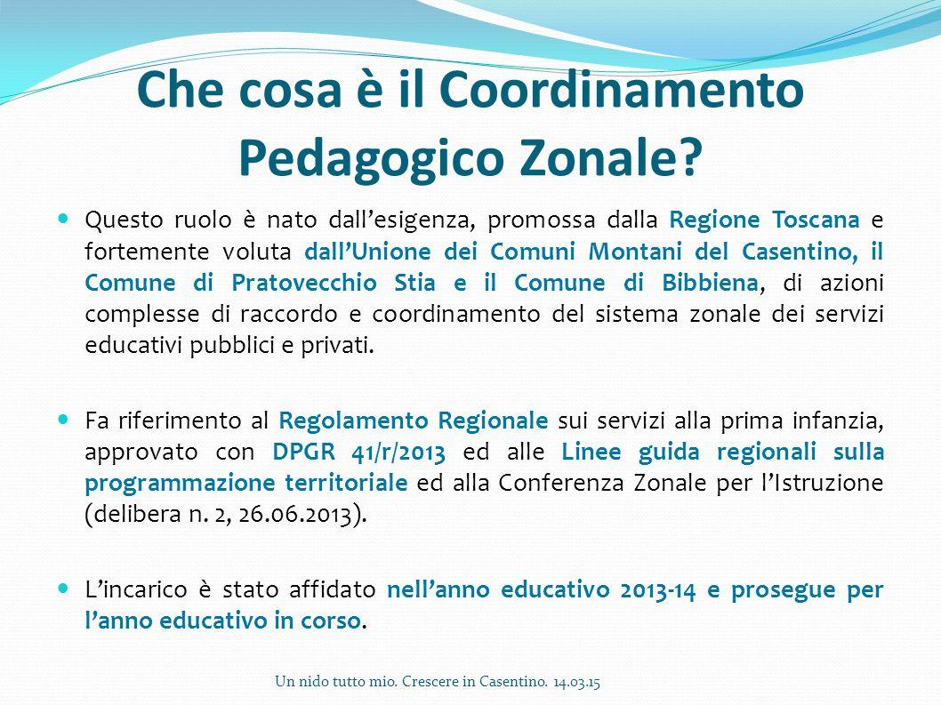Che cosa è il Coordinamento Pedagogico Zonale? Questo ruolo è nato dall'esigenza, promossa dalla Regione Toscana e fortemente voluta dall'Unione dei C