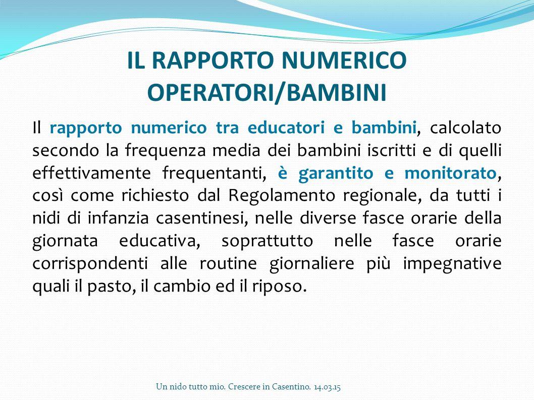 IL RAPPORTO NUMERICO OPERATORI/BAMBINI Il rapporto numerico tra educatori e bambini, calcolato secondo la frequenza media dei bambini iscritti e di qu