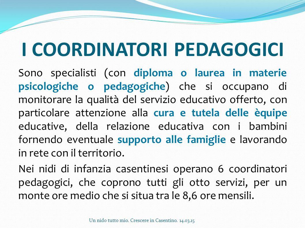 I COORDINATORI PEDAGOGICI Sono specialisti (con diploma o laurea in materie psicologiche o pedagogiche) che si occupano di monitorare la qualità del s