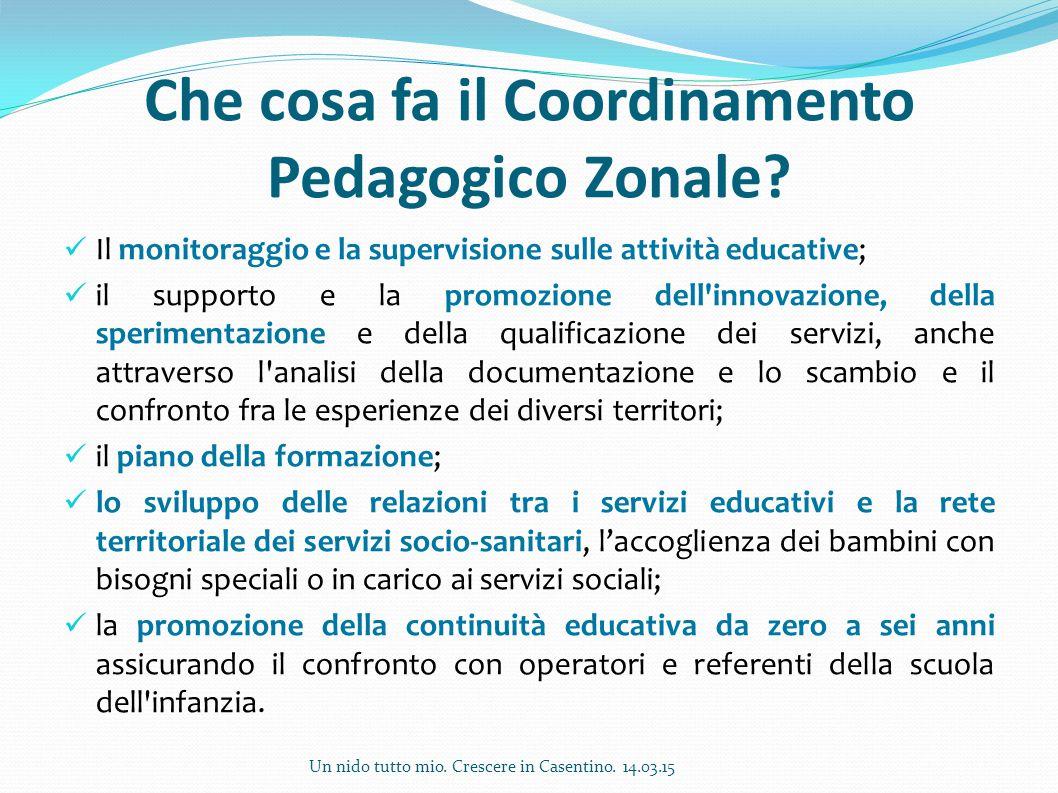Che cosa fa il Coordinamento Pedagogico Zonale? Il monitoraggio e la supervisione sulle attività educative; il supporto e la promozione dell'innovazio